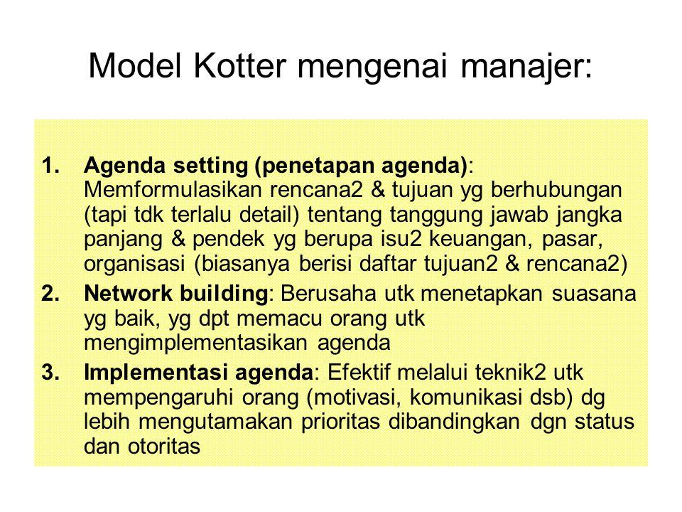 Model Kotter mengenai manajer: 1.Agenda setting (penetapan agenda): Memformulasikan rencana2 & tujuan yg berhubungan (tapi tdk terlalu detail) tentang tanggung jawab jangka panjang & pendek yg berupa isu2 keuangan, pasar, organisasi (biasanya berisi daftar tujuan2 & rencana2) 2.Network building: Berusaha utk menetapkan suasana yg baik, yg dpt memacu orang utk mengimplementasikan agenda 3.Implementasi agenda: Efektif melalui teknik2 utk mempengaruhi orang (motivasi, komunikasi dsb) dg lebih mengutamakan prioritas dibandingkan dgn status dan otoritas