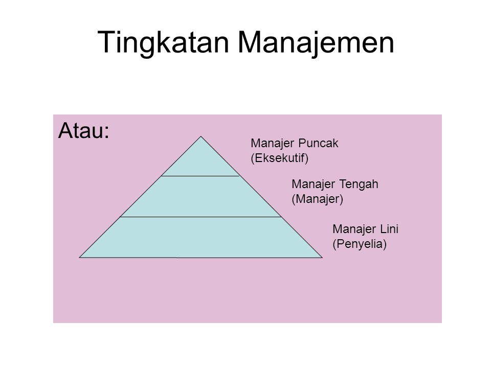 Tingkatan Manajemen Atau: Manajer Puncak (Eksekutif) Manajer Tengah (Manajer) Manajer Lini (Penyelia)