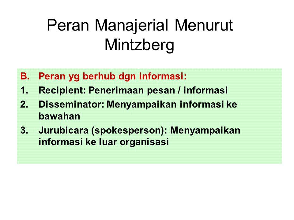 Peran Manajerial Menurut Mintzberg B.Peran yg berhub dgn informasi: 1.Recipient: Penerimaan pesan / informasi 2.Disseminator: Menyampaikan informasi ke bawahan 3.Jurubicara (spokesperson): Menyampaikan informasi ke luar organisasi