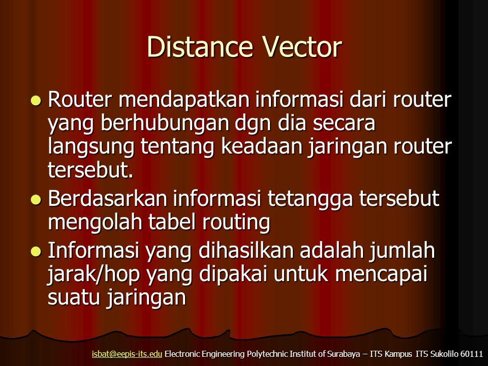 isbat@eepis-its.eduisbat@eepis-its.edu Electronic Engineering Polytechnic Institut of Surabaya – ITS Kampus ITS Sukolilo 60111 isbat@eepis-its.edu Distance Vector Router mendapatkan informasi dari router yang berhubungan dgn dia secara langsung tentang keadaan jaringan router tersebut.