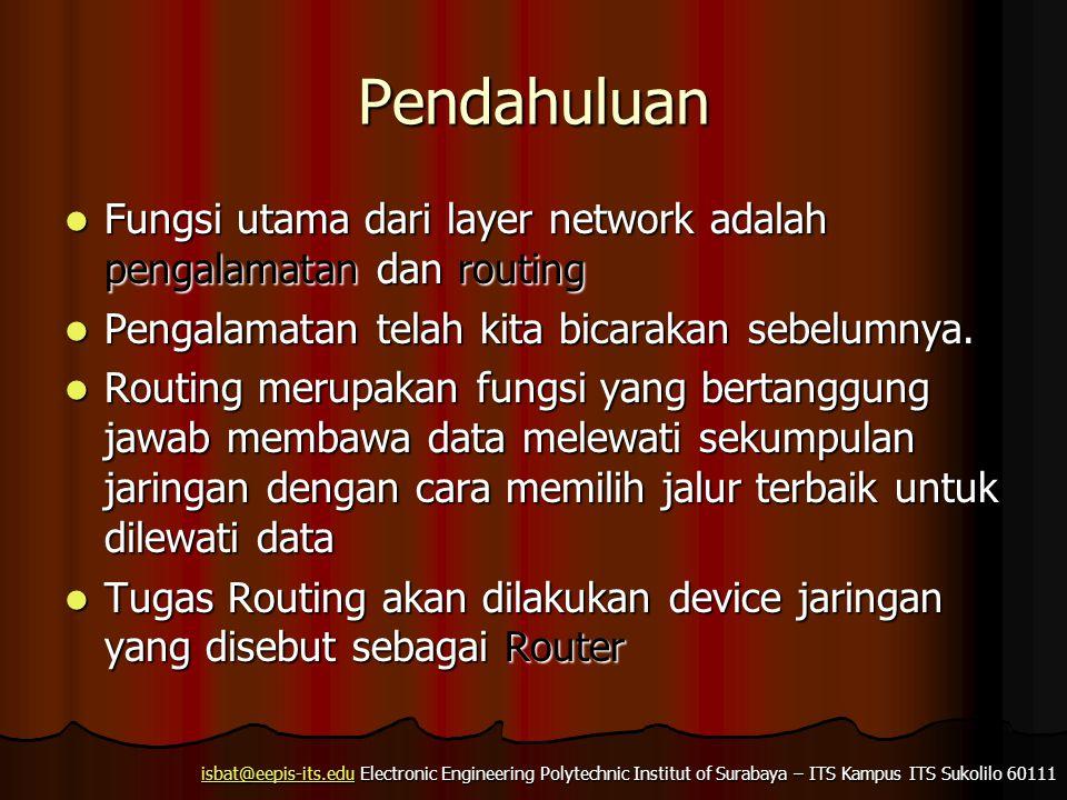 isbat@eepis-its.eduisbat@eepis-its.edu Electronic Engineering Polytechnic Institut of Surabaya – ITS Kampus ITS Sukolilo 60111 isbat@eepis-its.edu Pendahuluan Fungsi utama dari layer network adalah pengalamatan dan routing Fungsi utama dari layer network adalah pengalamatan dan routing Pengalamatan telah kita bicarakan sebelumnya.