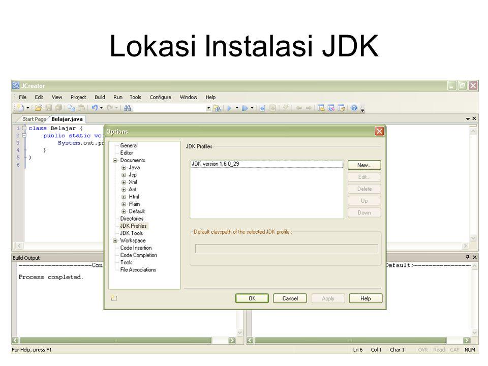 Lokasi Instalasi JDK