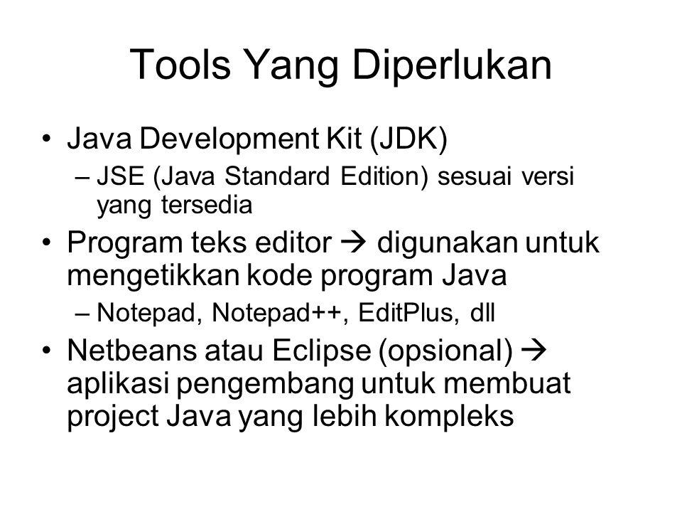 Aplikasi Java Java Aplikasi –berbasis teks (text-based) –berbasis window (window-based) Applet  berbasis web (web-based) MIDlet  berbasis mobile Servlet  berbasis client-server