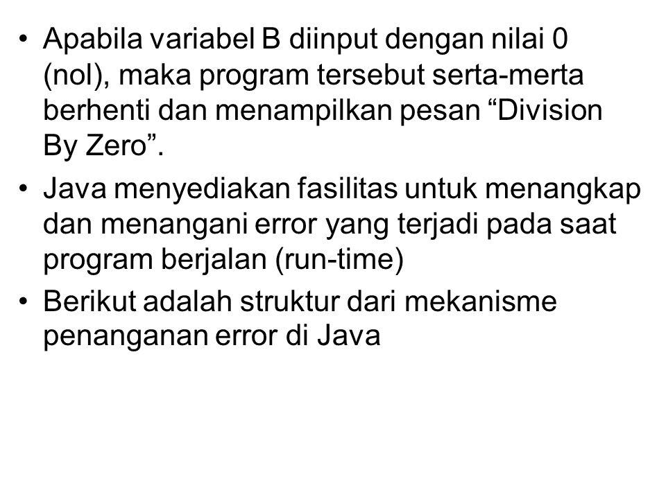 "Apabila variabel B diinput dengan nilai 0 (nol), maka program tersebut serta-merta berhenti dan menampilkan pesan ""Division By Zero"". Java menyediakan"