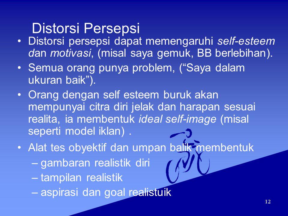 """12 Distorsi Persepsi Distorsi persepsi dapat memengaruhi self-esteem dan motivasi, (misal saya gemuk, BB berlebihan). Semua orang punya problem, (""""Say"""