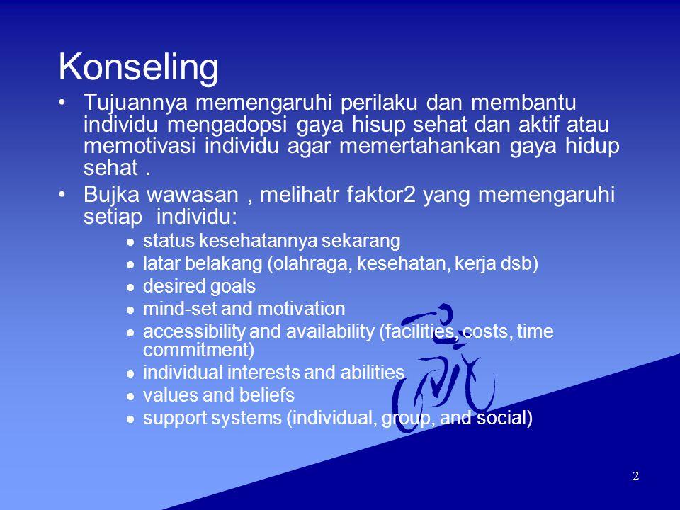 2 Konseling Tujuannya memengaruhi perilaku dan membantu individu mengadopsi gaya hisup sehat dan aktif atau memotivasi individu agar memertahankan gay