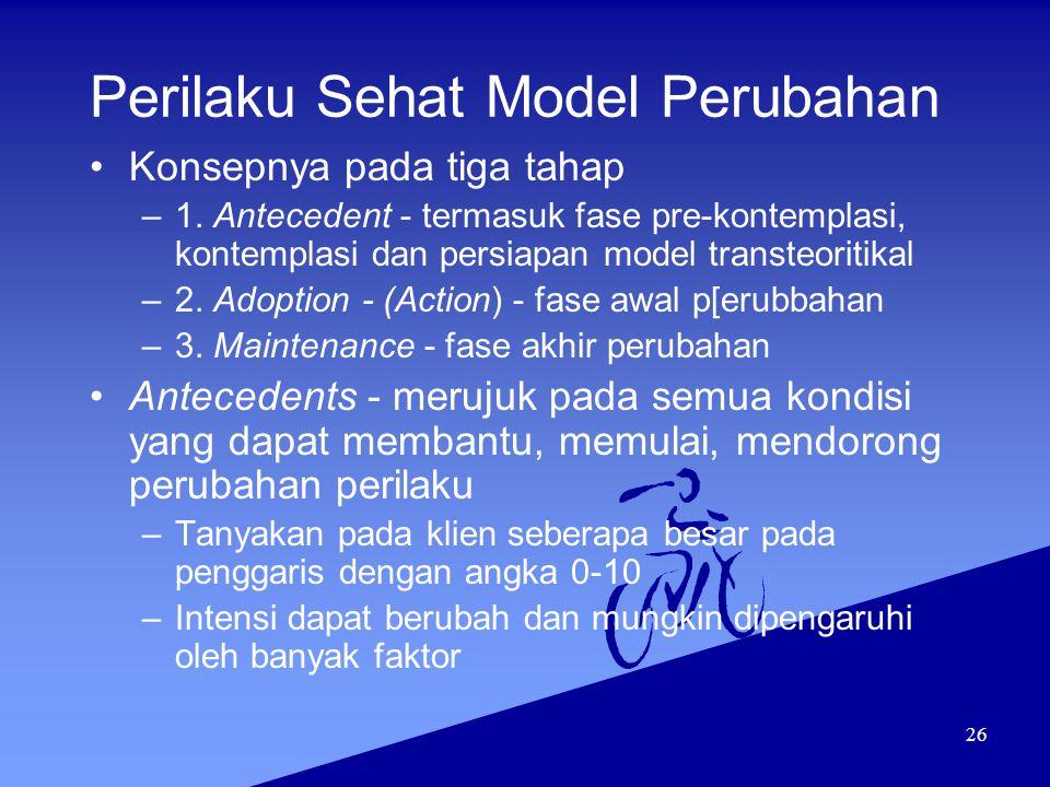 26 Perilaku Sehat Model Perubahan Konsepnya pada tiga tahap –1. Antecedent - termasuk fase pre-kontemplasi, kontemplasi dan persiapan model transteori