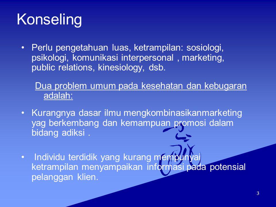 3 Konseling Perlu pengetahuan luas, ketrampilan: sosiologi, psikologi, komunikasi interpersonal, marketing, public relations, kinesiology, dsb. Dua pr