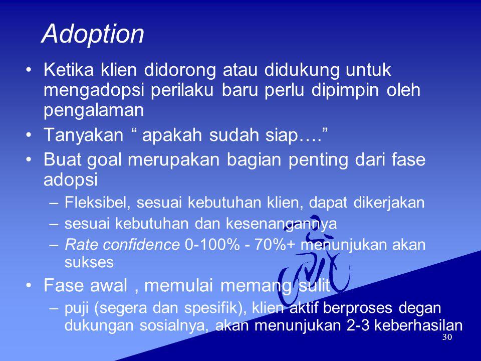 """30 Adoption Ketika klien didorong atau didukung untuk mengadopsi perilaku baru perlu dipimpin oleh pengalaman Tanyakan """" apakah sudah siap…."""" Buat goa"""