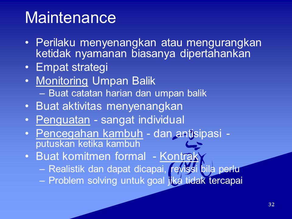 32 Maintenance Perilaku menyenangkan atau mengurangkan ketidak nyamanan biasanya dipertahankan Empat strategi Monitoring Umpan Balik –Buat catatan har