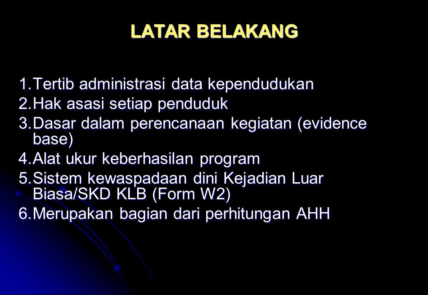LATAR BELAKANG 1.Tertib administrasi data kependudukan 2.Hak asasi setiap penduduk 3.Dasar dalam perencanaan kegiatan (evidence base) 4.Alat ukur kebe