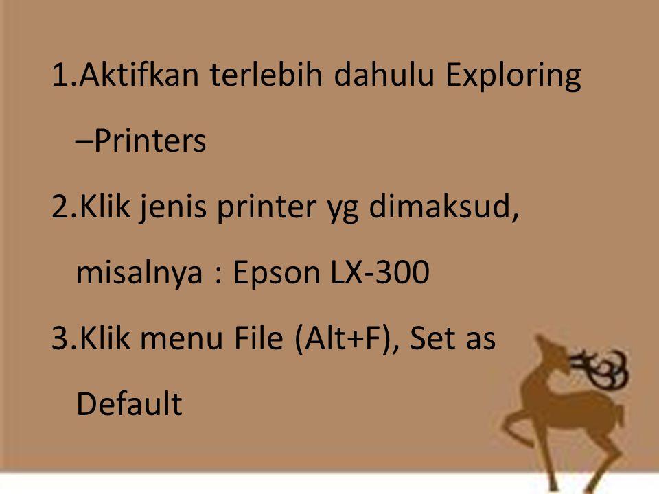 1.Aktifkan terlebih dahulu Exploring –Printers 2.Klik jenis printer yg dimaksud, misalnya : Epson LX-300 3.Klik menu File (Alt+F), Set as Default