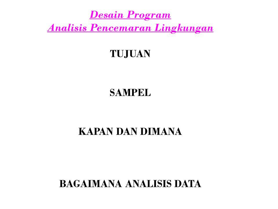 Desain Program Analisis Pencemaran Lingkungan TUJUAN SAMPEL KAPAN DAN DIMANA BAGAIMANA ANALISIS DATA