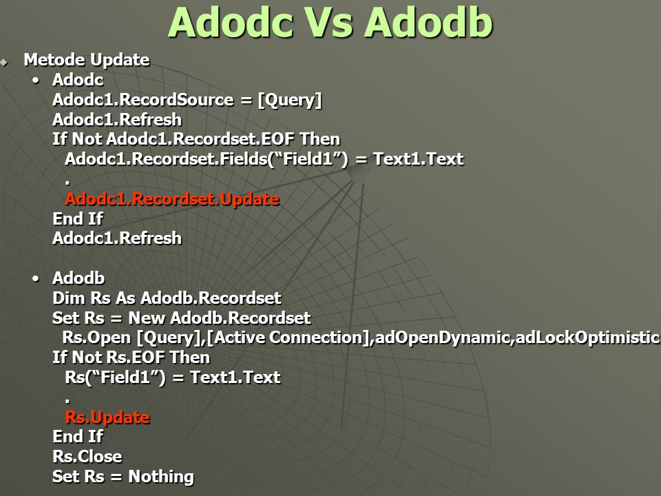 "Adodc Vs Adodb  Metode Update AdodcAdodc Adodc1.RecordSource = [Query] Adodc1.Refresh If Not Adodc1.Recordset.EOF Then Adodc1.Recordset.Fields(""Field"