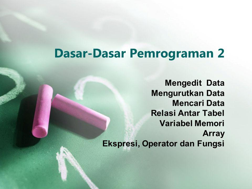 Dasar-Dasar Pemrograman 2 Mengedit Data Mengurutkan Data Mencari Data Relasi Antar Tabel Variabel Memori Array Ekspresi, Operator dan Fungsi