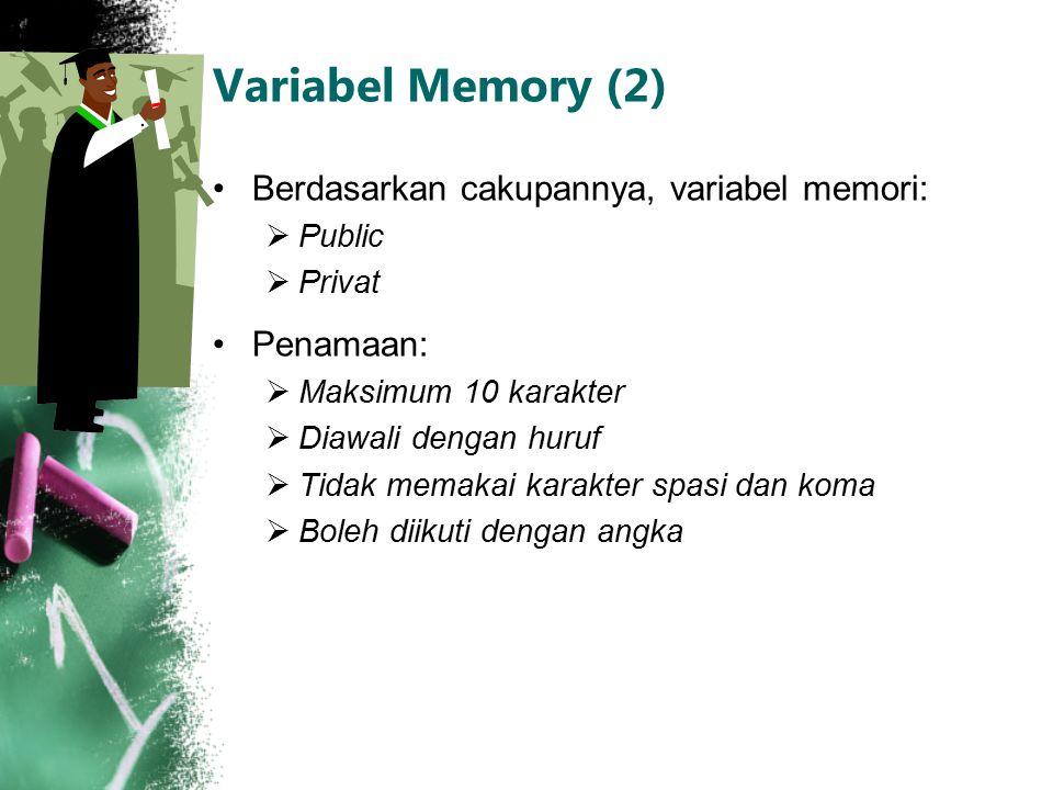 Variabel Memory (2) Berdasarkan cakupannya, variabel memori:  Public  Privat Penamaan:  Maksimum 10 karakter  Diawali dengan huruf  Tidak memakai