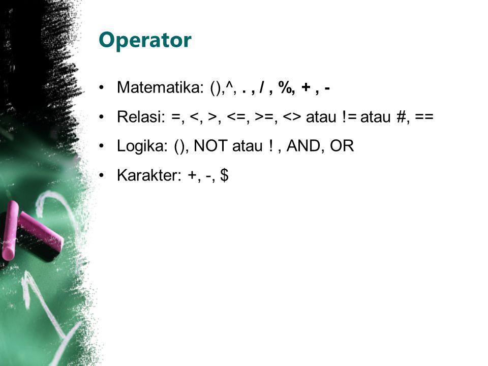 Operator Matematika: (),^,., /, %, +, - Relasi: =,, =, <> atau != atau #, == Logika: (), NOT atau !, AND, OR Karakter: +, -, $