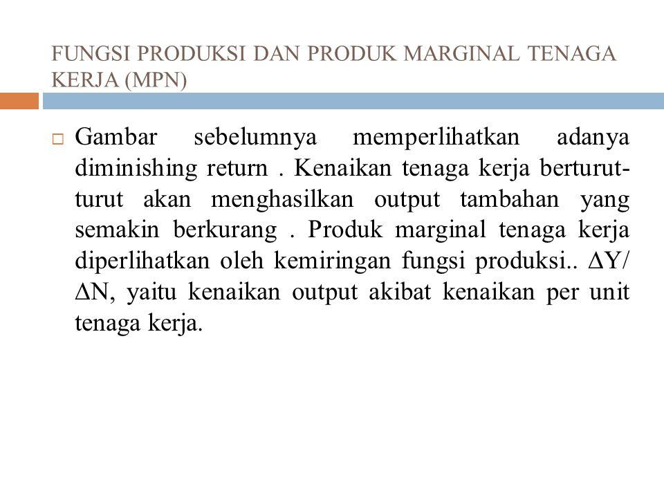 FUNGSI PRODUKSI DAN PRODUK MARGINAL TENAGA KERJA (MPN)  Gambar sebelumnya memperlihatkan adanya diminishing return. Kenaikan tenaga kerja berturut- t
