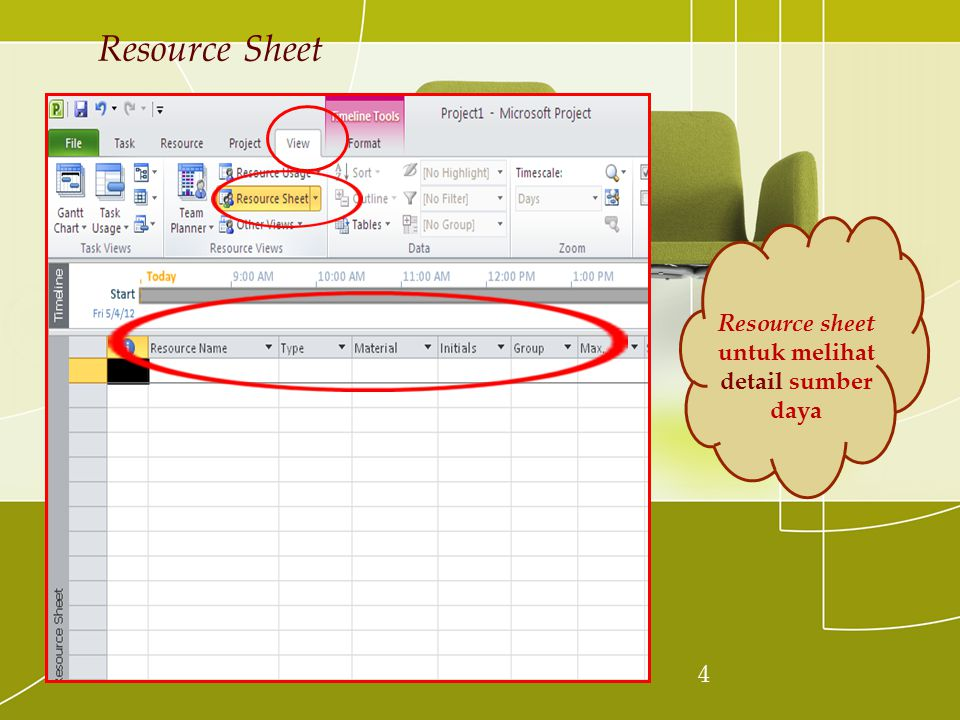 4 Resource Sheet Resource sheet untuk melihat detail sumber daya