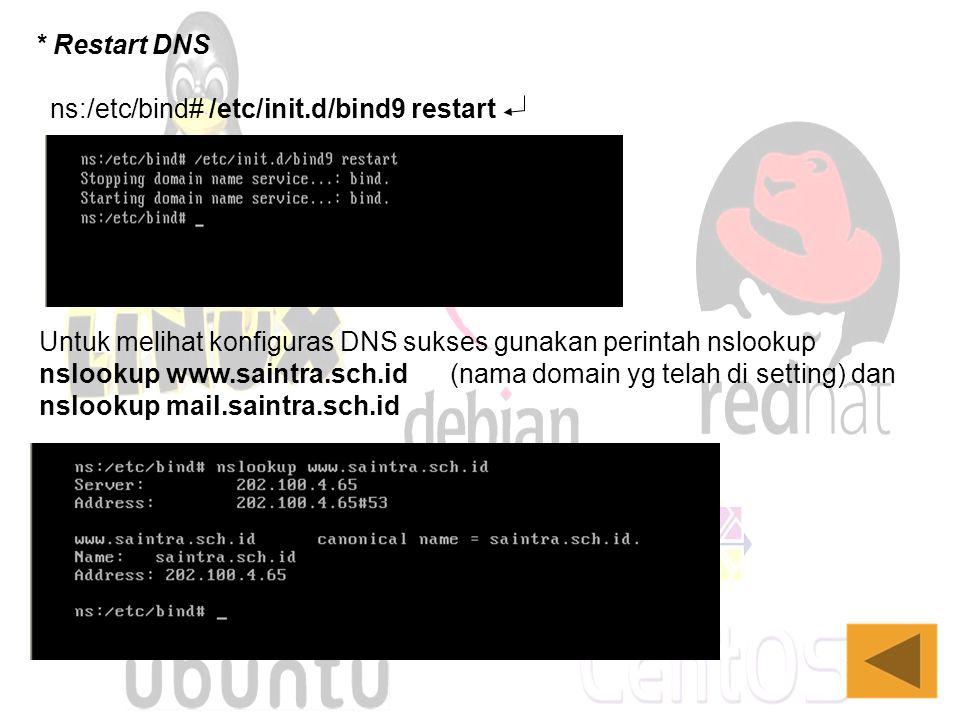 * Restart DNS ns:/etc/bind# /etc/init.d/bind9 restart Untuk melihat konfiguras DNS sukses gunakan perintah nslookup nslookup www.saintra.sch.id (nama