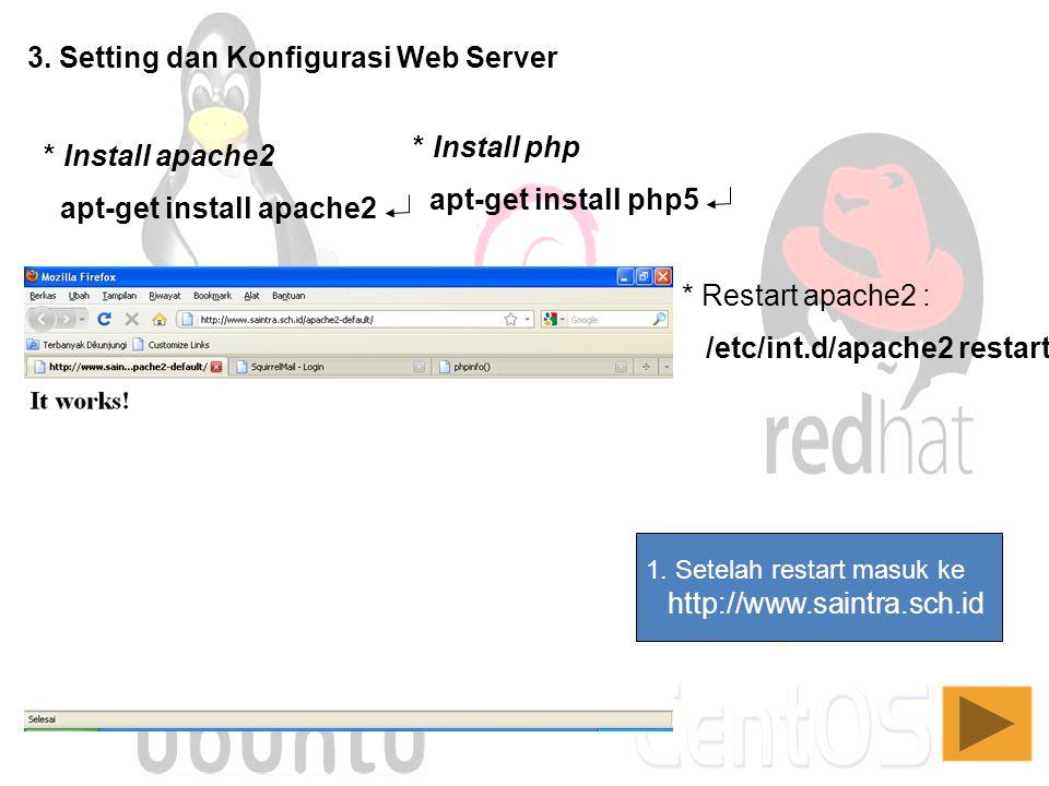 3. Setting dan Konfigurasi Web Server * Install apache2 apt-get install apache2 * Install php apt-get install php5 1. Setelah restart masuk ke http://