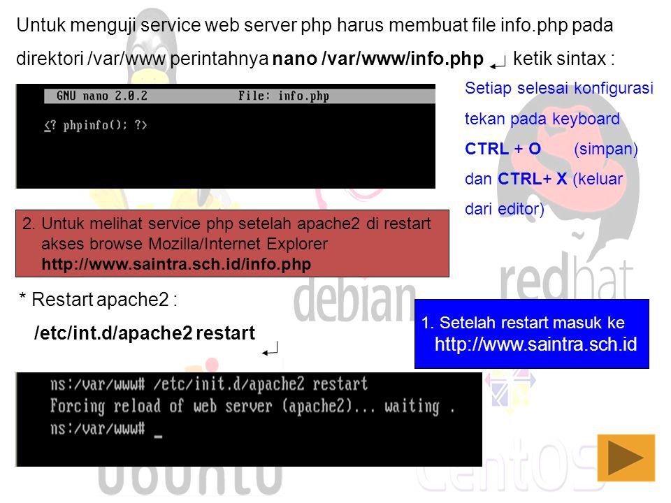Untuk menguji service web server php harus membuat file info.php pada direktori /var/www perintahnya nano /var/www/info.php ketik sintax : * Restart a