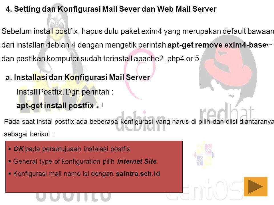 4. Setting dan Konfigurasi Mail Sever dan Web Mail Server Sebelum install postfix, hapus dulu paket exim4 yang merupakan default bawaan dari installan