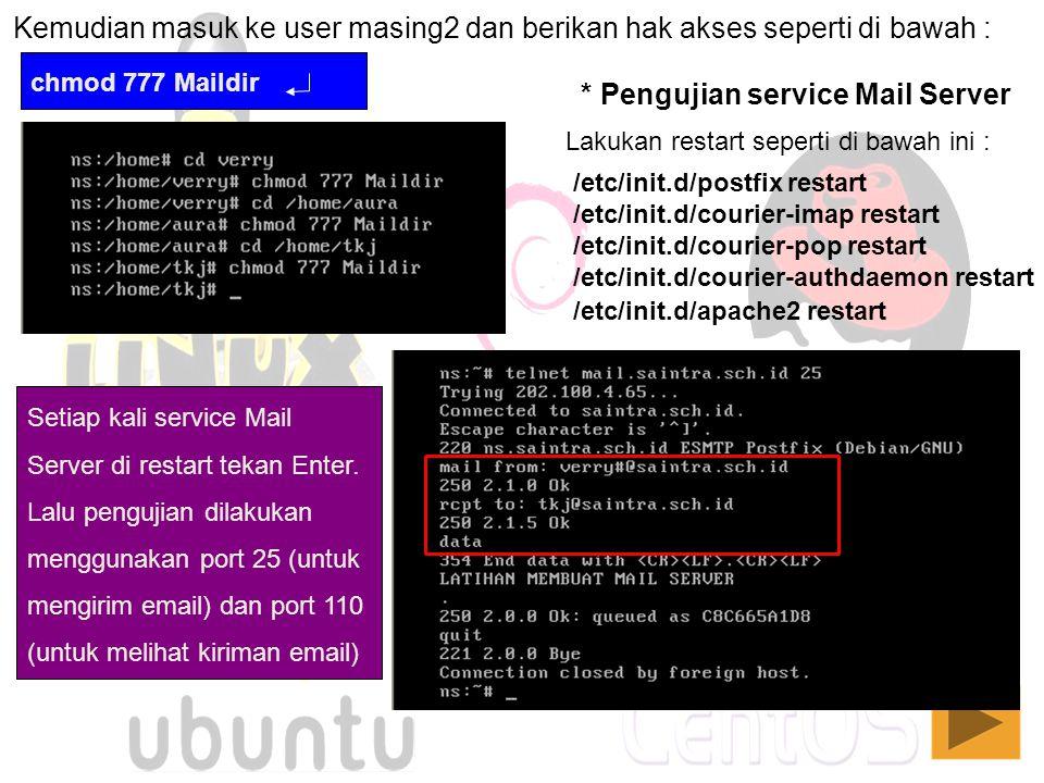 Kemudian masuk ke user masing2 dan berikan hak akses seperti di bawah : chmod 777 Maildir Lakukan restart seperti di bawah ini : * Pengujian service M