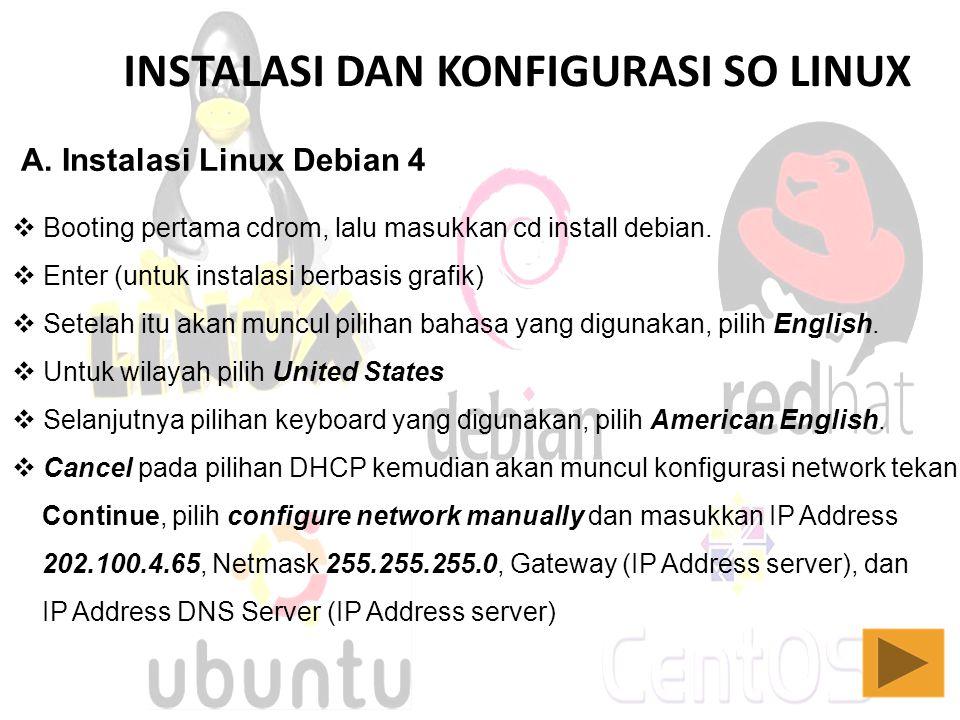 INSTALASI DAN KONFIGURASI SO LINUX A. Instalasi Linux Debian 4  Booting pertama cdrom, lalu masukkan cd install debian.  Enter (untuk instalasi berb