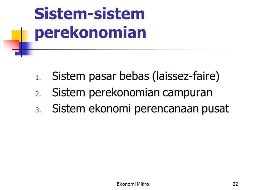 Ekonomi Mikro22 Sistem-sistem perekonomian 1. Sistem pasar bebas (laissez-faire) 2. Sistem perekonomian campuran 3. Sistem ekonomi perencanaan pusat