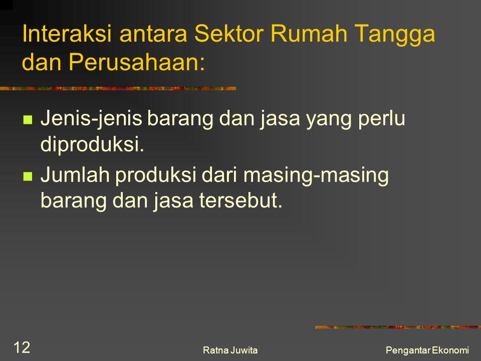 Ratna JuwitaPengantar Ekonomi 12 Interaksi antara Sektor Rumah Tangga dan Perusahaan: Jenis-jenis barang dan jasa yang perlu diproduksi. Jumlah produk