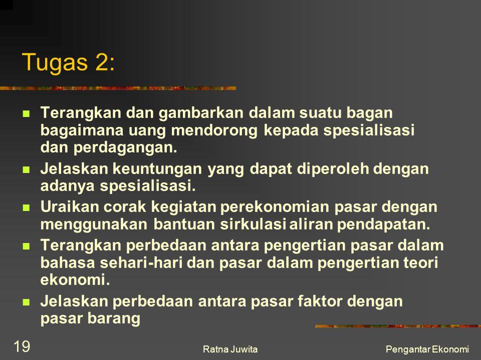 Ratna JuwitaPengantar Ekonomi 19 Tugas 2: Terangkan dan gambarkan dalam suatu bagan bagaimana uang mendorong kepada spesialisasi dan perdagangan. Jela