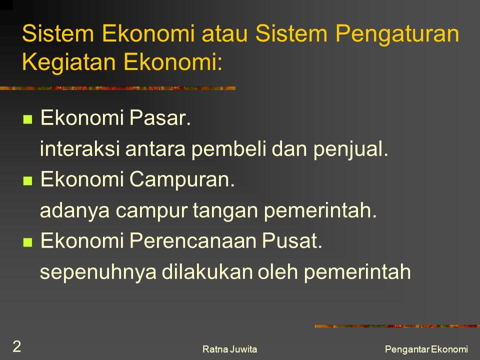 Ratna JuwitaPengantar Ekonomi 2 Sistem Ekonomi atau Sistem Pengaturan Kegiatan Ekonomi: Ekonomi Pasar. interaksi antara pembeli dan penjual. Ekonomi C