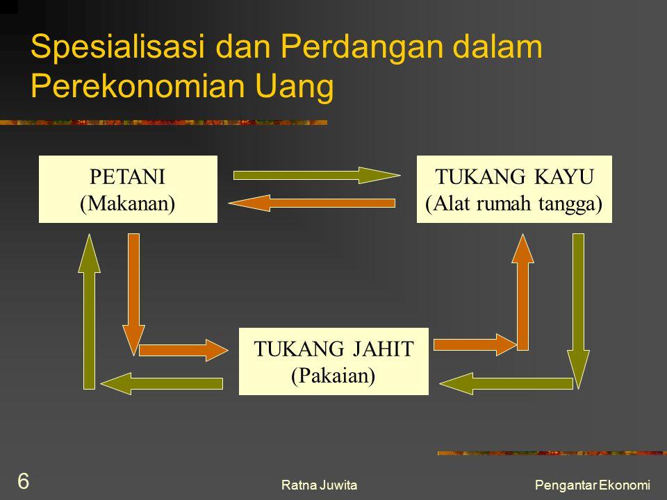 Ratna JuwitaPengantar Ekonomi 6 Spesialisasi dan Perdangan dalam Perekonomian Uang PETANI (Makanan) TUKANG KAYU (Alat rumah tangga) TUKANG JAHIT (Paka