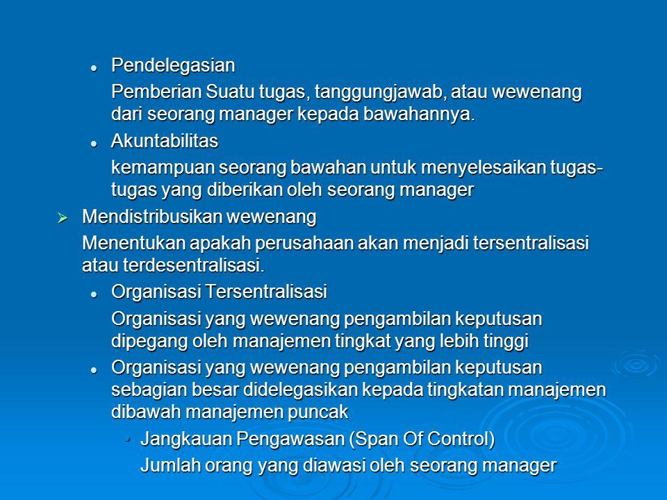 Pendelegasian Pendelegasian Pemberian Suatu tugas, tanggungjawab, atau wewenang dari seorang manager kepada bawahannya. Akuntabilitas Akuntabilitas ke