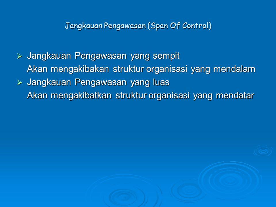 Jangkauan Pengawasan (Span Of Control)  Jangkauan Pengawasan yang sempit Akan mengakibakan struktur organisasi yang mendalam  Jangkauan Pengawasan y