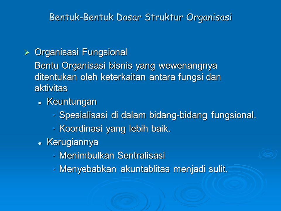 Bentuk-Bentuk Dasar Struktur Organisasi  Organisasi Fungsional Bentu Organisasi bisnis yang wewenangnya ditentukan oleh keterkaitan antara fungsi dan
