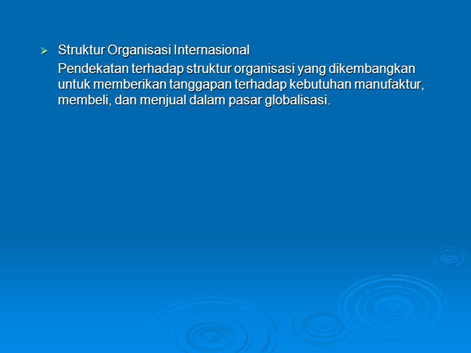  Struktur Organisasi Internasional Pendekatan terhadap struktur organisasi yang dikembangkan untuk memberikan tanggapan terhadap kebutuhan manufaktur