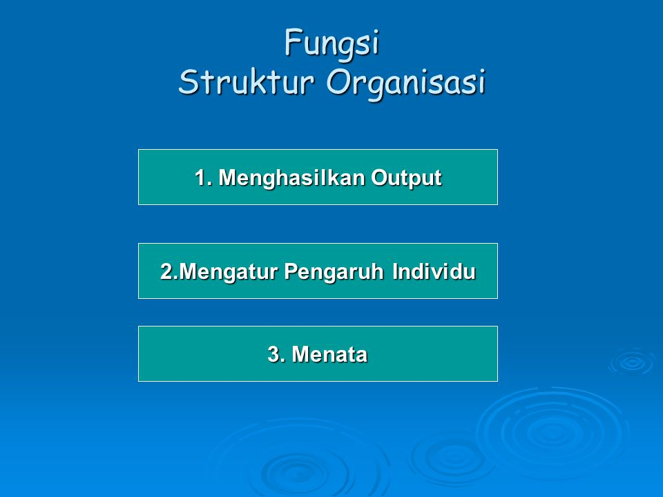 Faktor-faktor penentu Struktur Organisasi 1.Ukuran 2.Teknolog 2.Teknologi 3.