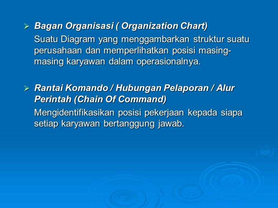  Bagan Organisasi ( Organization Chart) Suatu Diagram yang menggambarkan struktur suatu perusahaan dan memperlihatkan posisi masing- masing karyawan