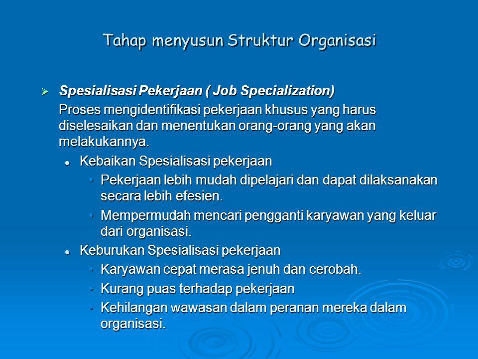  Departementalisasi (Departmentalization) Proses mengelompokkan pekerjaan kedalam unit- unit yang masuk akal.