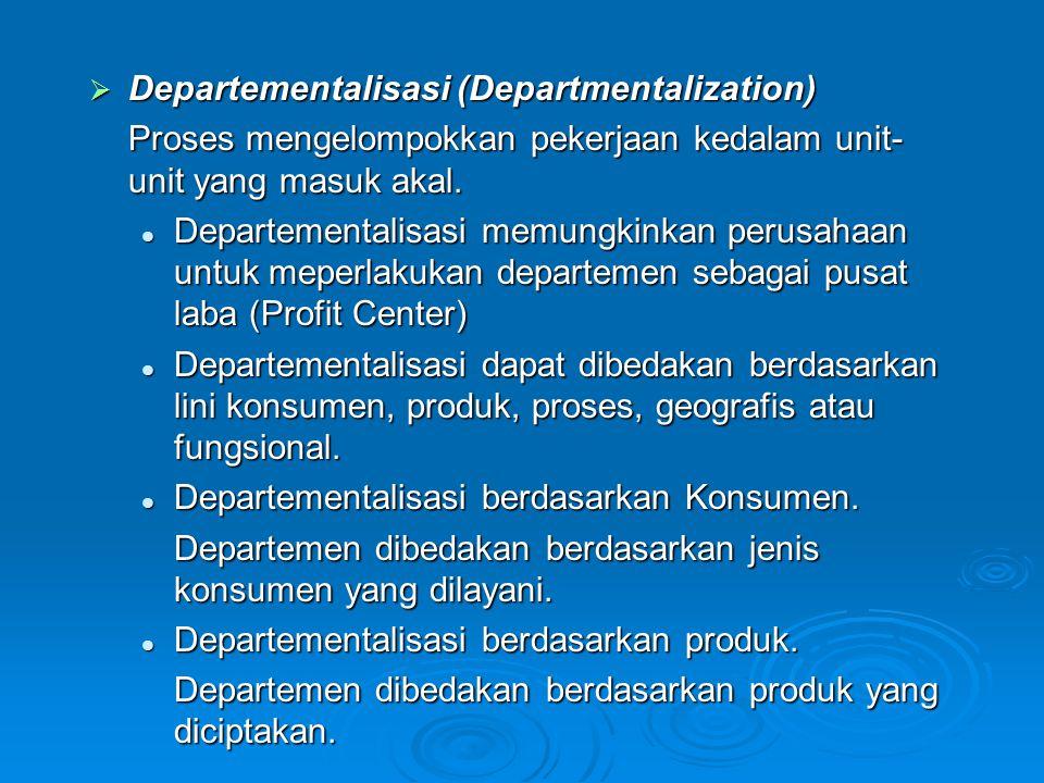 Departementalisasi Berdasarkan proses Departementalisasi Berdasarkan proses Departemen yang dibedakan berdasarkan proses produksi yang digunakan dalam menciptakan produk/ jasa Departementalisasi Berdasarkan Geografis Departementalisasi Berdasarkan Geografis Departemen yang dibedakan berdasarkan wilayah yang dilayani.