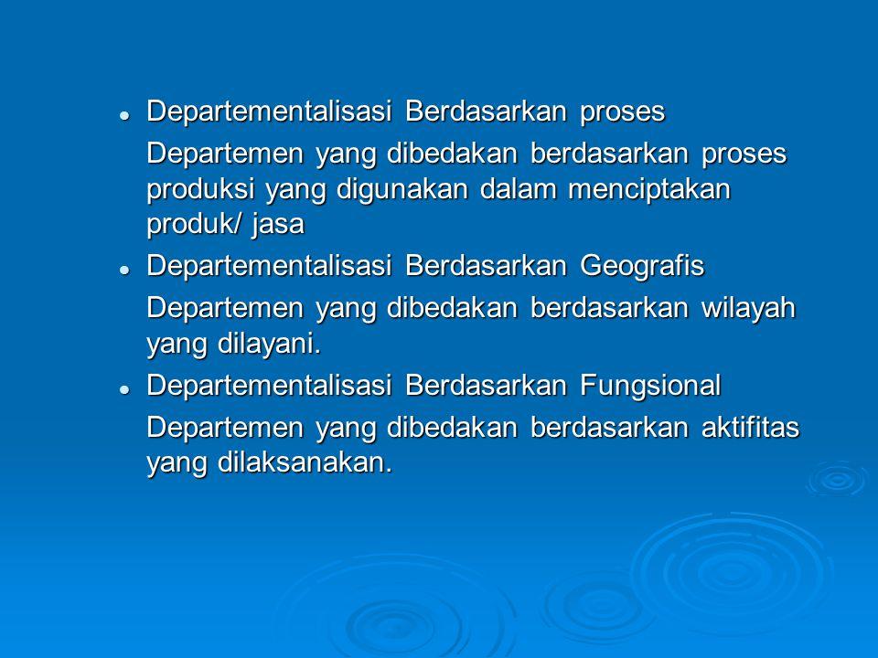 Departementalisasi Berdasarkan proses Departementalisasi Berdasarkan proses Departemen yang dibedakan berdasarkan proses produksi yang digunakan dalam