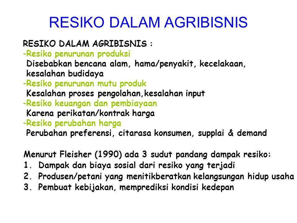 RESIKO DALAM AGRIBISNIS : -Resiko penurunan produksi Disebabkan bencana alam, hama/penyakit, kecelakaan, kesalahan budidaya -Resiko penurunan mutu pro