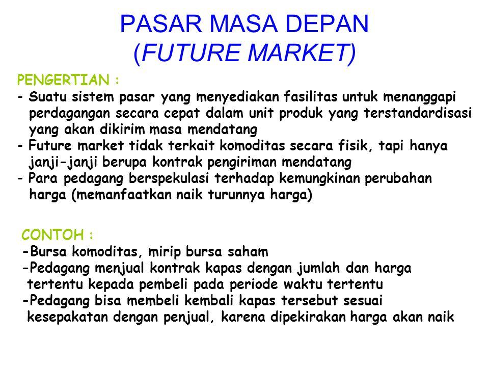 PENGERTIAN : - Suatu sistem pasar yang menyediakan fasilitas untuk menanggapi perdagangan secara cepat dalam unit produk yang terstandardisasi yang ak