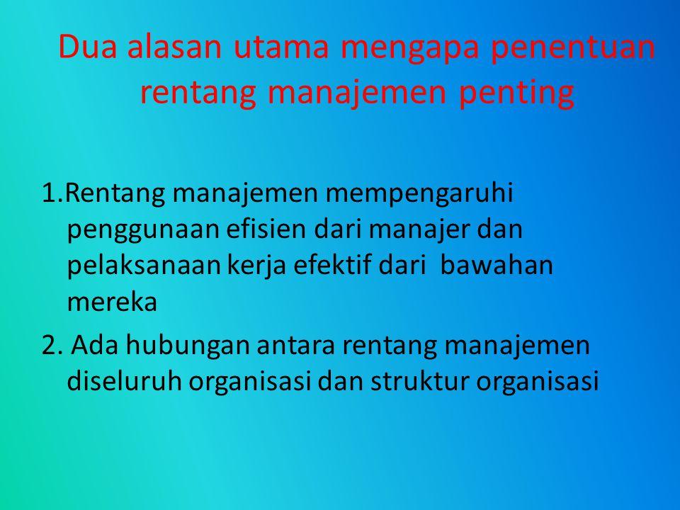 Dua alasan utama mengapa penentuan rentang manajemen penting 1.Rentang manajemen mempengaruhi penggunaan efisien dari manajer dan pelaksanaan kerja ef