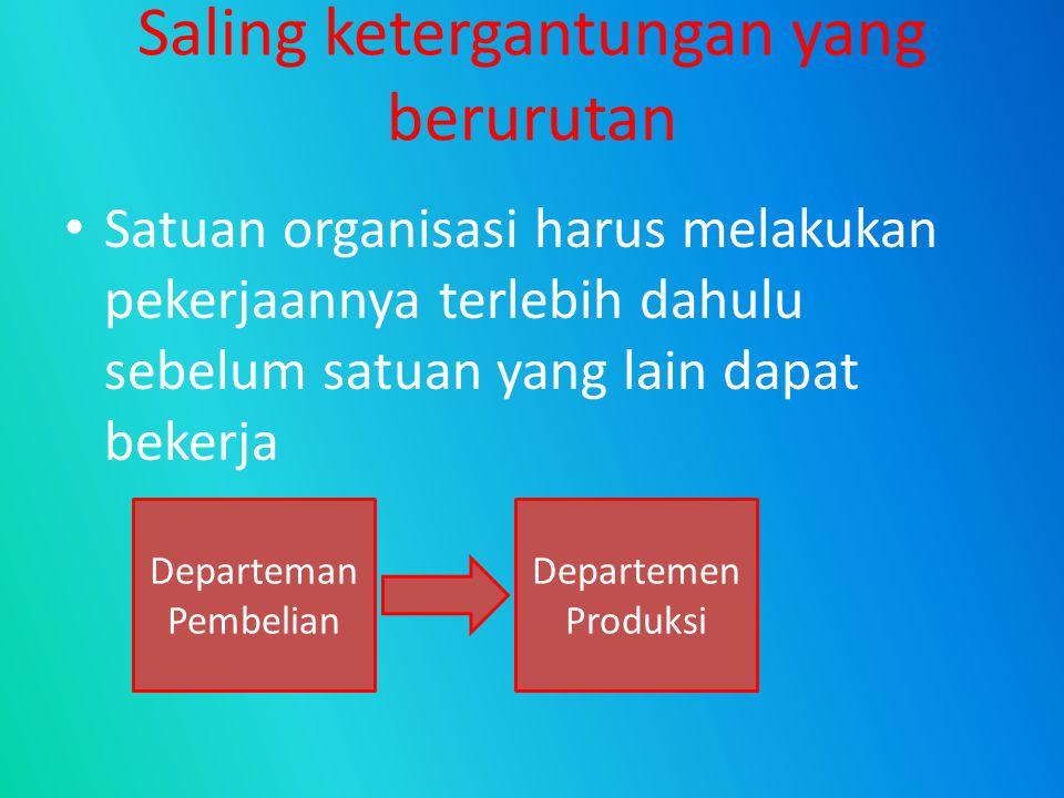 Saling ketergantungan yang berurutan Satuan organisasi harus melakukan pekerjaannya terlebih dahulu sebelum satuan yang lain dapat bekerja Departeman
