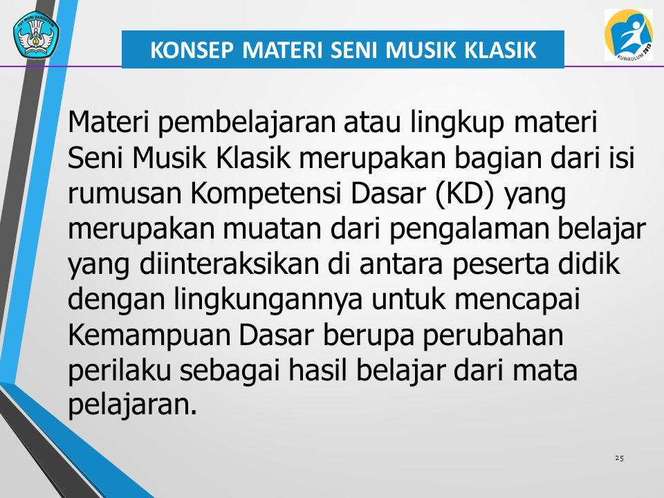 25 KONSEP MATERI SENI MUSIK KLASIK Materi pembelajaran atau lingkup materi Seni Musik Klasik merupakan bagian dari isi rumusan Kompetensi Dasar (KD) y