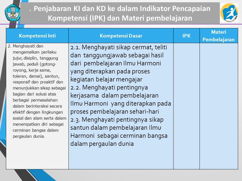 . Penjabaran KI dan KD ke dalam Indikator Pencapaian Kompetensi (IPK) dan Materi pembelajaran Kompetensi IntiKompetensi DasarIPK Materi Pembelajaran 2