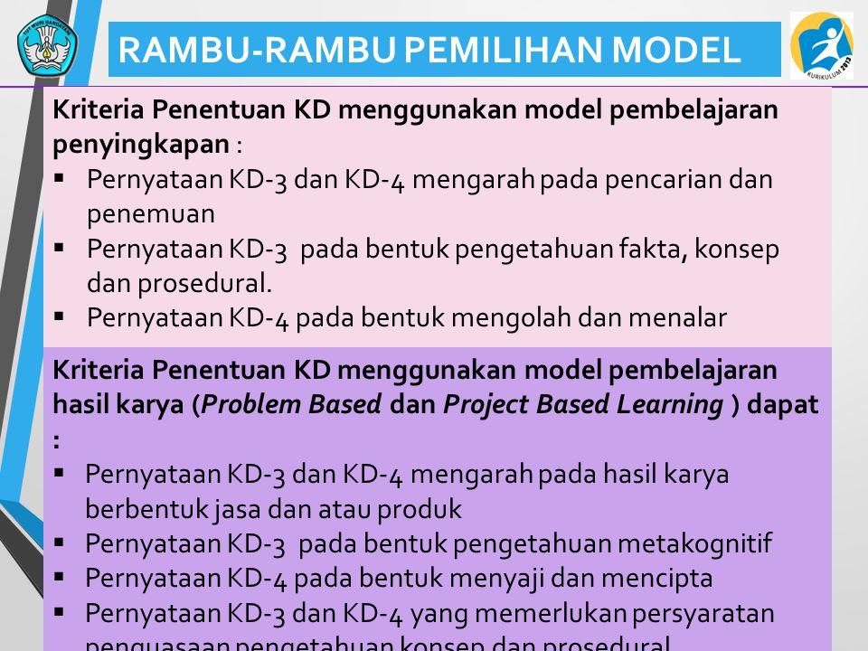 41 RAMBU-RAMBU PEMILIHAN MODEL Kriteria Penentuan KD menggunakan model pembelajaran penyingkapan :  Pernyataan KD-3 dan KD-4 mengarah pada pencarian